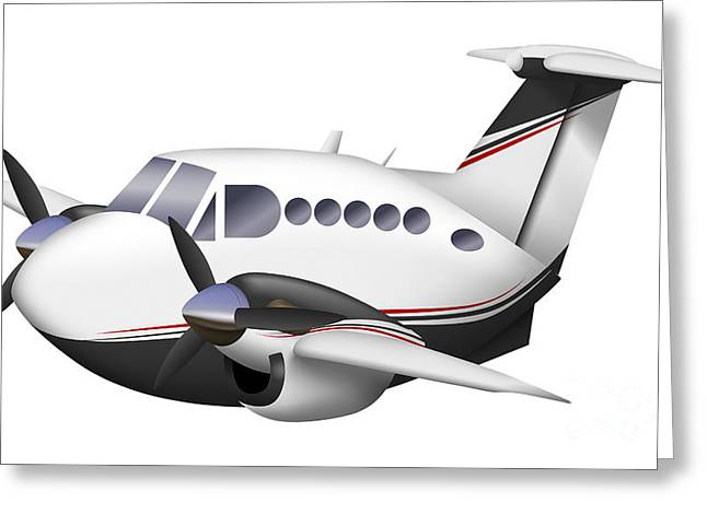 Aviation Caricatures Greeting Cards - Cartoon Illustration Of A Beechcraft Greeting Card by Inkworm