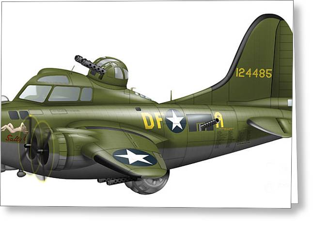 Aviation Caricatures Greeting Cards - Cartoon Illustration Of A Boeing B-17 Greeting Card by Inkworm