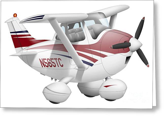 Aviation Caricatures Greeting Cards - Cartoon Illustration Of A Cessna 182 Greeting Card by Inkworm