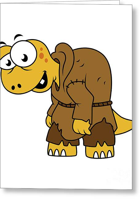 Problems Digital Greeting Cards - Cartoon Illustration Of A Dinosaur Greeting Card by Stocktrek Images
