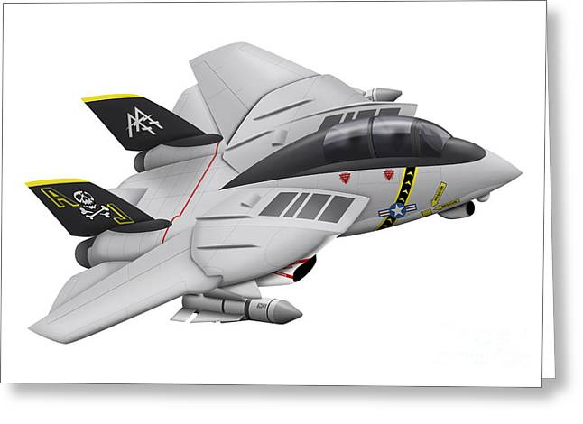 Aviation Caricatures Greeting Cards - Cartoon Illustration Of A F-14 Tomcat Greeting Card by Inkworm