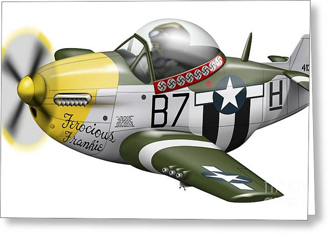 Vector Image Greeting Cards - Cartoon Illustration Of A P-51 Mustang Greeting Card by Inkworm