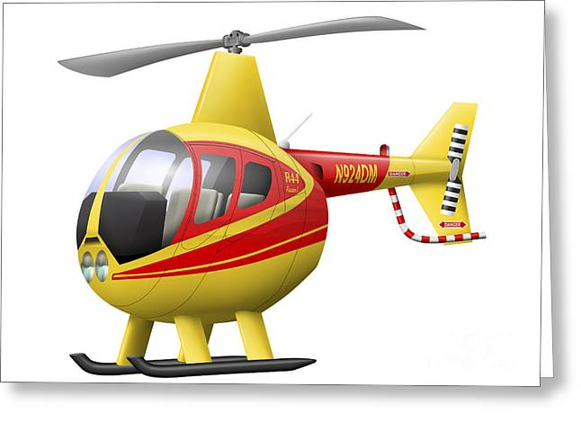 Aviation Caricatures Greeting Cards - Cartoon Illustration Of A Robinson R44 Greeting Card by Inkworm