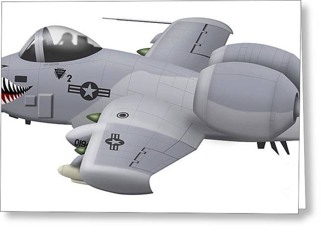 Aviation Caricatures Greeting Cards - Cartoon Illustration Of An A-10 Greeting Card by Inkworm