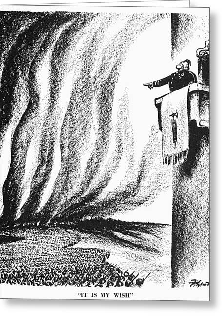 Dictatorships Greeting Cards - Cartoon: Mussolini, 1940 Greeting Card by Granger