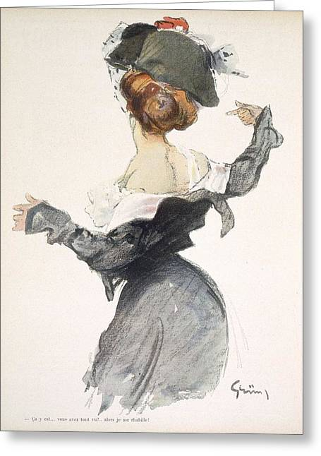 Ww1 Greeting Cards - Cartoon Of A Woman Performing A Hurried Greeting Card by Jules Alexandre Gruen or Grun