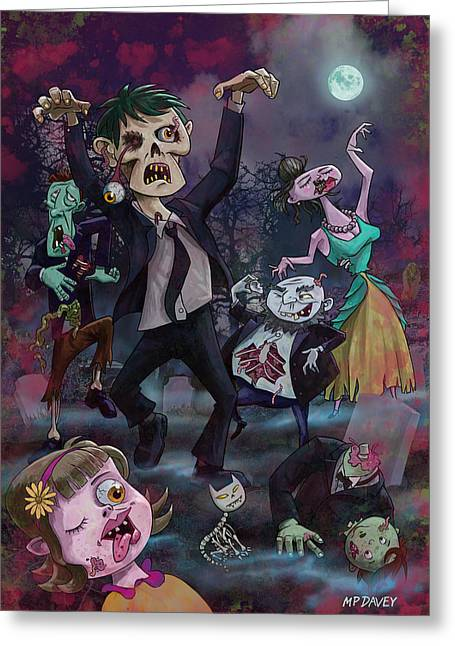 Creepy Digital Art Greeting Cards - Cartoon Zombie Party Greeting Card by Martin Davey