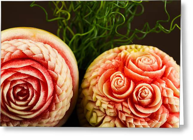 Watermelon Greeting Cards - Carved Fruit Greeting Card by Raul Rodriguez