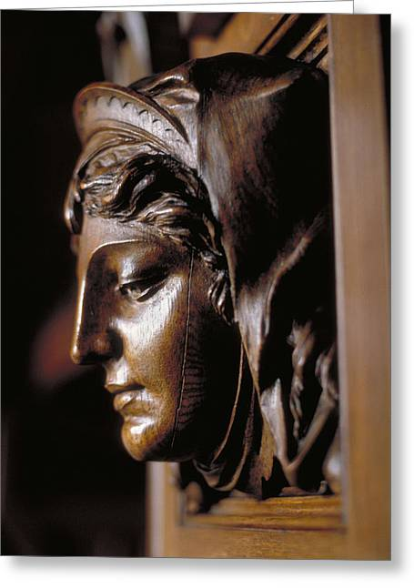 Best Sellers -  - Wooden Sculpture Greeting Cards - Carved Woman in Ashford Castle Greeting Card by Carl Purcell