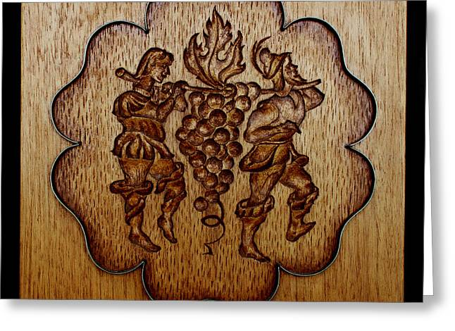 Deli Greeting Cards - Carved Wood Baking Mold #24 Greeting Card by Hanne Lore Koehler