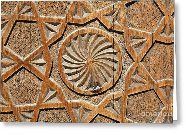 Ayub Greeting Cards - Carved wooden door of the Chashma Ayab Mausoleum at Bukhara in Uzbekistan Greeting Card by Robert Preston