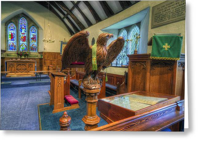 Candle Lit Greeting Cards - Carved Wooden Eagle Greeting Card by Ian Mitchell