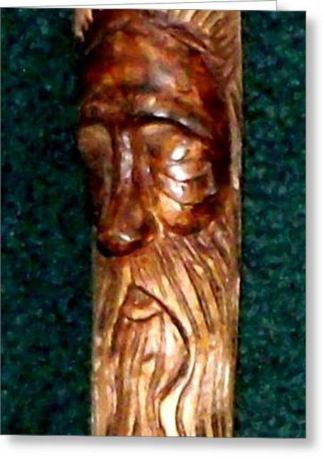 Wooden Sculpture Greeting Cards - Carved Wooden Walking Stick Greeting Card by Gail Matthews
