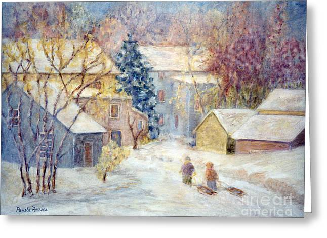 Carversville Snow Greeting Card by Pamela Parsons