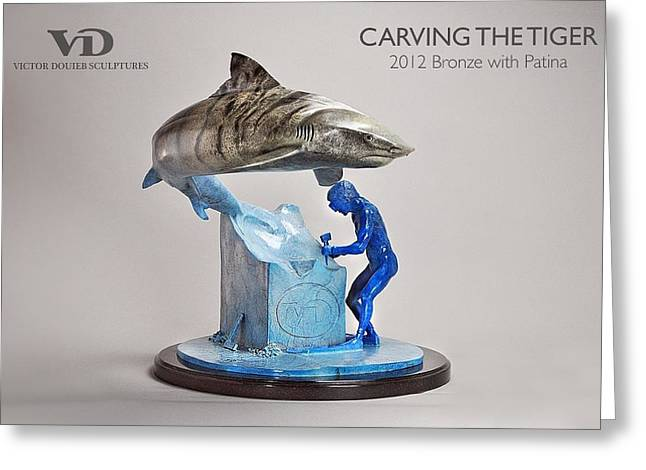 Sharks Sculptures Greeting Cards - Carving the tiger Greeting Card by Victor Douieb