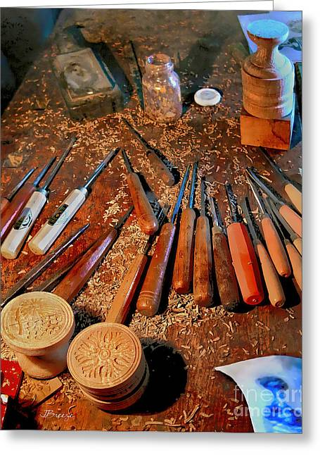 Wooden Sculpture Greeting Cards - Carving Tools of Pietro Picetti Greeting Card by Jennie Breeze