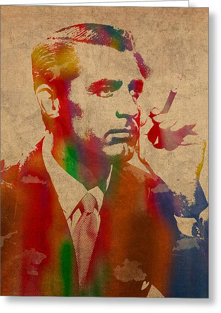 Cary Greeting Cards - Cary Grant Watercolor Portrait on Worn Parchment Greeting Card by Design Turnpike