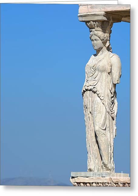 Caryatids Greeting Cards - Caryatid on Acropolis Greeting Card by Grigorios Moraitis