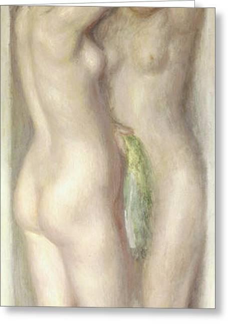 Pairs Greeting Cards - Caryatids Greeting Card by Pierre Auguste Renoir