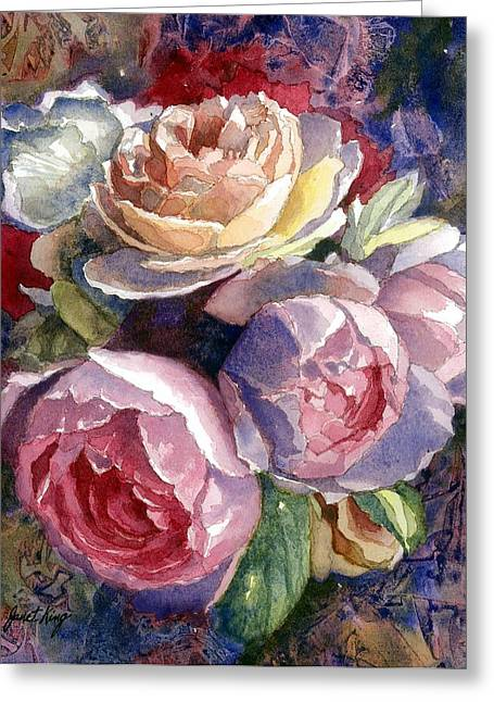 Janet King Paintings Greeting Cards - Caryns Roses Greeting Card by Janet King