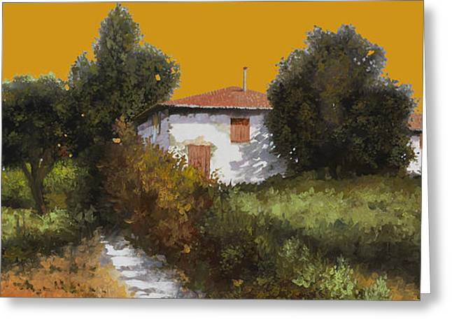 Grape Vineyard Greeting Cards - Casa Al Tramonto Greeting Card by Guido Borelli
