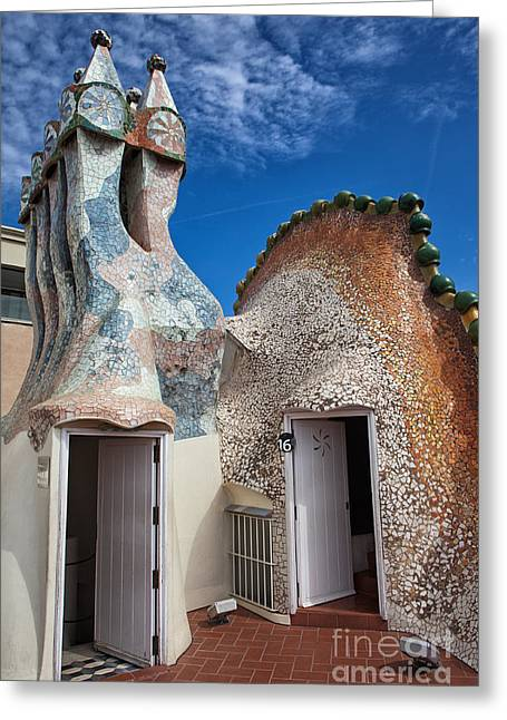 Unique Sights Greeting Cards - Casa Batllo Attic and Rooftop in Barcelona Greeting Card by Artur Bogacki