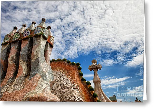 Unique Sights Greeting Cards - Casa Batllo Chimneys in Barcelona Greeting Card by Artur Bogacki