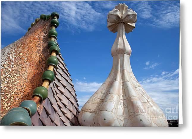Unique Sights Greeting Cards - Casa Batllo Dragonlike Roof in Barcelona Greeting Card by Artur Bogacki