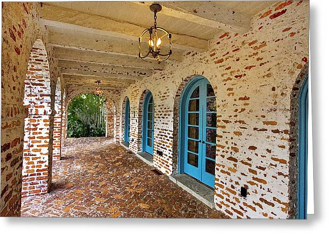 Historic Home Greeting Cards - Casa De Feliz Portico DB Greeting Card by Rich Franco