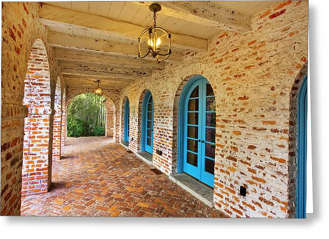Historic Home Greeting Cards - Casa De Feliz Portico Greeting Card by Rich Franco