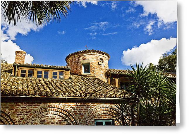 Historic Home Greeting Cards - Casa De Feliz Turret Greeting Card by Rich Franco