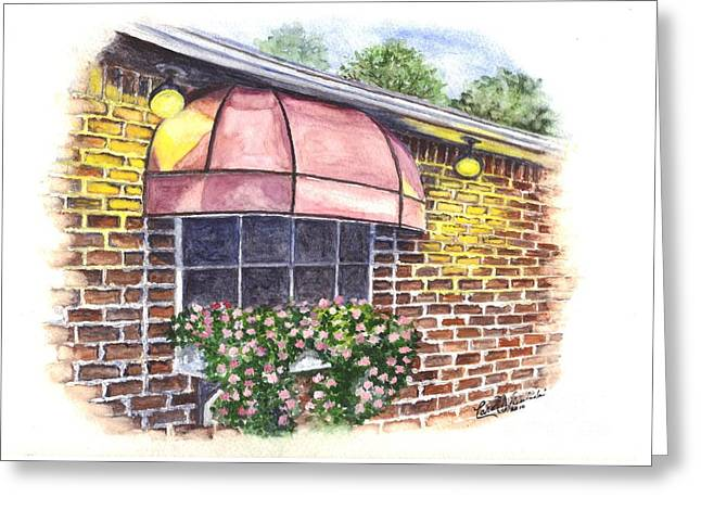 Flower Boxes Drawings Greeting Cards - Casa De Pasta Greeting Card by Carol Wisniewski