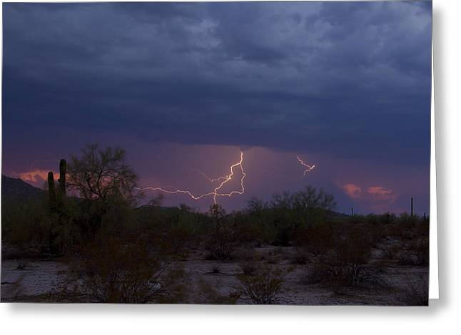 Scottsdale Lightning Greeting Cards - Casa Grande Sunset Strike Greeting Card by Cathy Franklin
