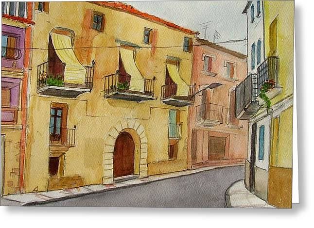 Catalunya Paintings Greeting Cards - Casa in Ginestar Greeting Card by Molly Farr
