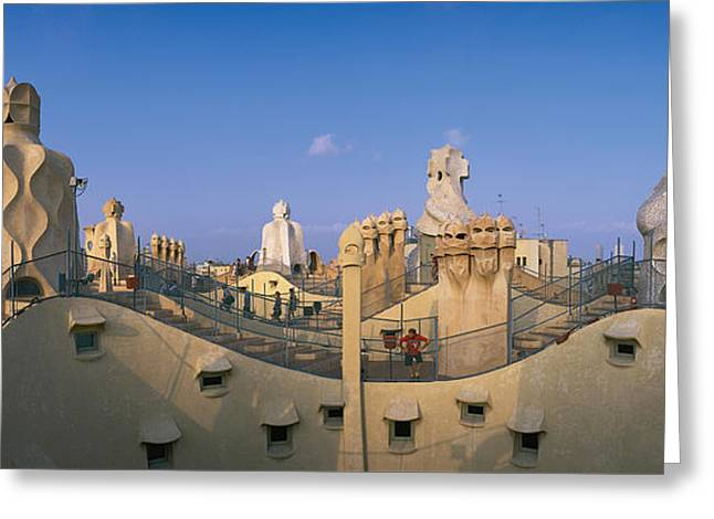 Geometric Image Greeting Cards - Casa Mila Barcelona Spain Greeting Card by Panoramic Images