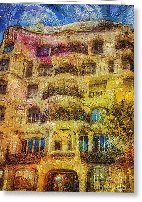 Modernism Greeting Cards - Casa Mila Greeting Card by Mo T