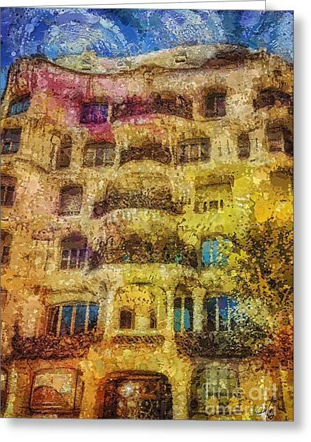 Casa Mila Greeting Card by Mo T