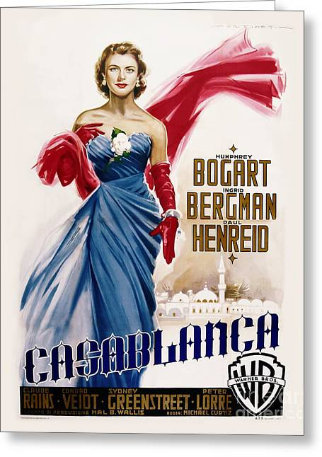 Classic Hollywood Photographs Greeting Cards - Casablanca Movie Poster - Bogart and Bergman Greeting Card by MMG Archive Prints