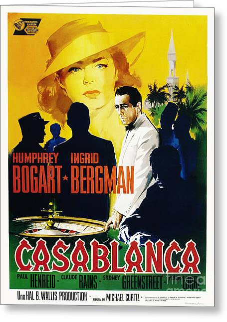 Classic Hollywood Photographs Greeting Cards - Casablanca Movie Poster Bogart Bergman Greeting Card by MMG Archive Prints