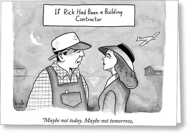 Casablanca Parody.  If Rick Was A Building Greeting Card by Bob Eckstein