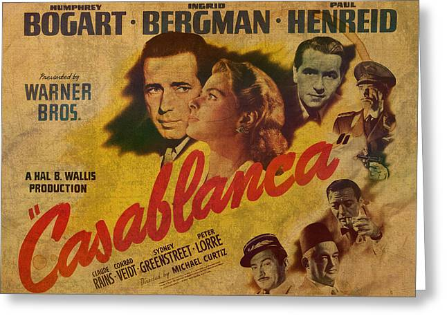 Lorre Greeting Cards - Casablanca Vintage Movie Poster on Old Stained Parchment Greeting Card by Design Turnpike