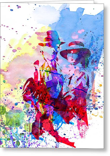 Famous Actors Greeting Cards - Casablanca Watercolor Greeting Card by Naxart Studio