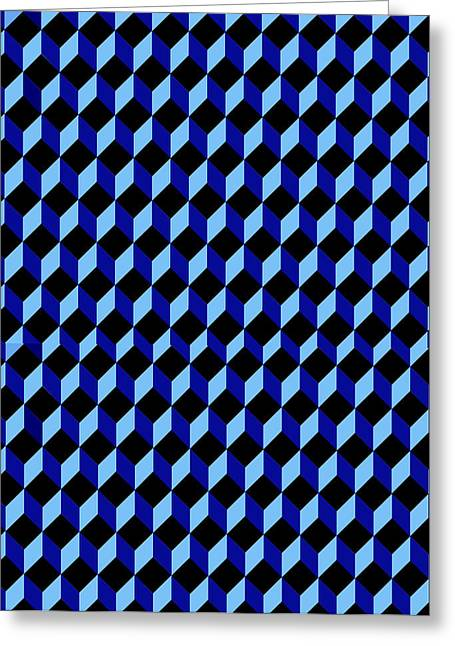 Basilio Greeting Cards - Casale di San Basilio Mosaic Rome blue and black Greeting Card by Asbjorn Lonvig