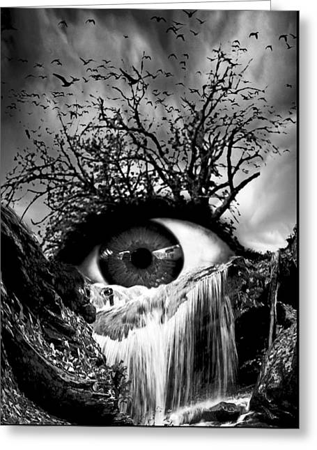 Oniric Greeting Cards - Cascade Crying Eye grayscale Greeting Card by Marian Voicu