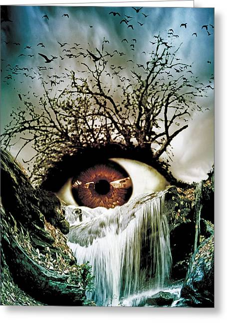 Weird Mixed Media Greeting Cards - Cascade Crying Eye Greeting Card by Marian Voicu