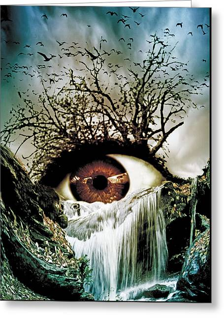Oniric Greeting Cards - Cascade Crying Eye Greeting Card by Marian Voicu