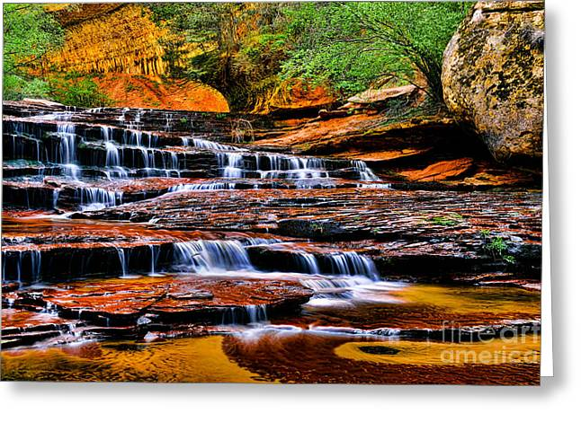Amazing Sunset Greeting Cards - Cascade Falls Greeting Card by Peter Dang