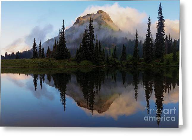 Cascade Mountains Greeting Cards - Cascade Mirror Greeting Card by Mike  Dawson