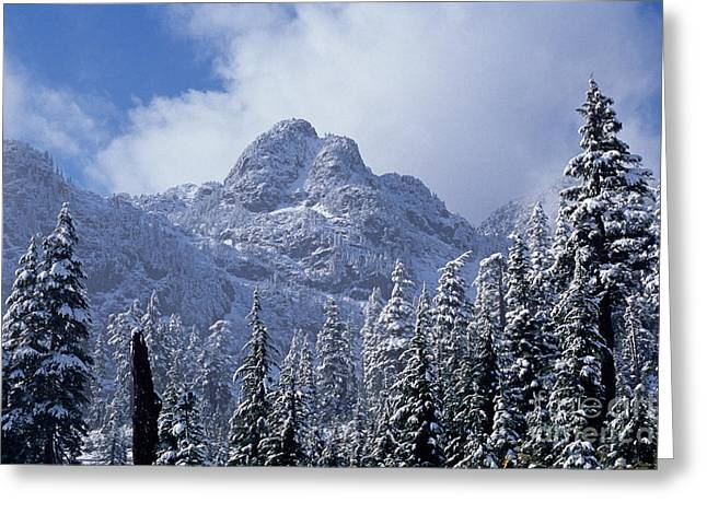 Snow-covered Landscape Greeting Cards - Cascade Mountains Greeting Card by Jim Corwin