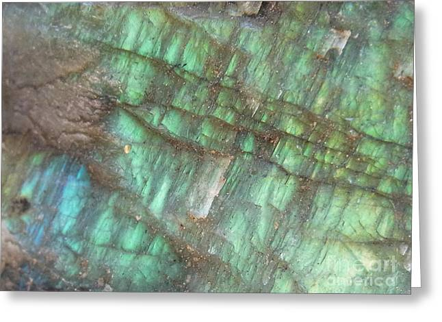 Blue Labradorite Greeting Cards - Cascade Of Green Greeting Card by Agnieszka Ledwon
